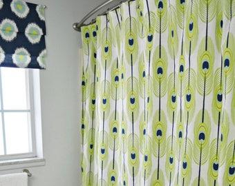 Shower Curtain Vintage Custom Fabric Feathers Peacock Extra Long Green Blue Retro Style 70s Boho Bohemian