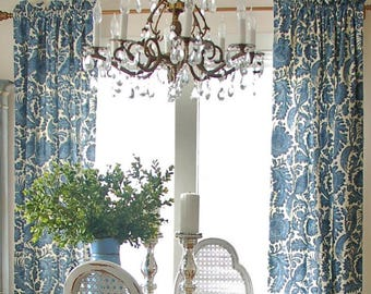 Blue Floral Drapes Curtains Custom Lengths Extra Long Wide Waverly Valence Farmhouse White