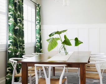 Palm Leaf Curtains Drapes Banana Tropical Window Treatments Custom Lengths Widths Green White Bungalow Chic
