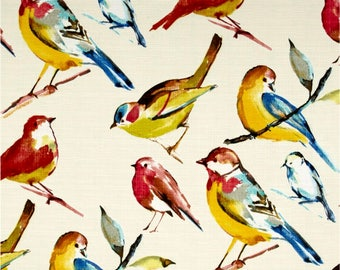 Birds Shower Curtain Fabric Bird Bath Decor Extra Long Tropical Multi Color Yellow Blue Red Offwhite Songbirds Guest