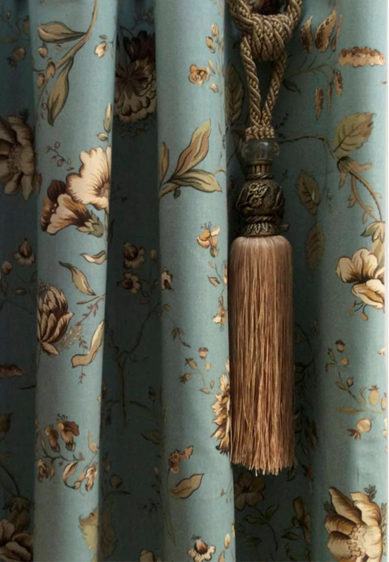 Custom Fabric Shower Curtain Shabby Chic Shower Curtain Blue Cream Country Chic Extra Long Sizes Farm House Cottage Chic Shower Curtains