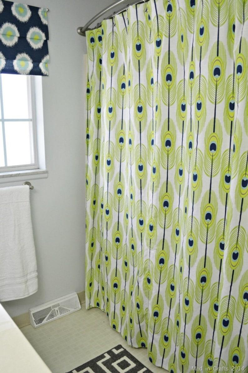 Shower Curtain Vintage Custom Fabric Feathers