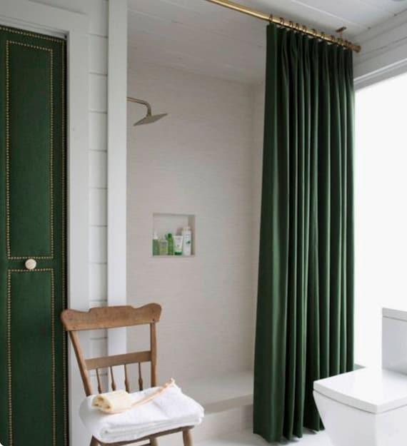 Velvet Shower Curtain Green Navy