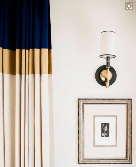 Color Block Drapes Curtains Custom Lengths Extra Long Extra Etsy