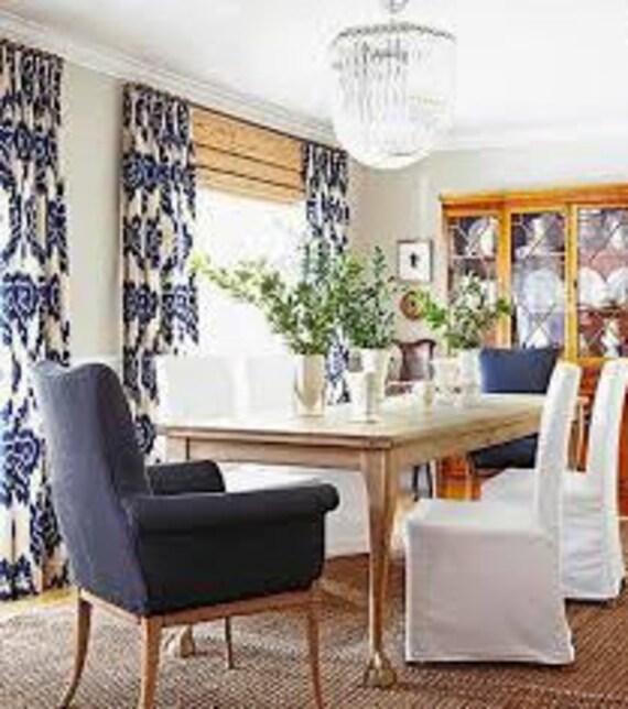 Blue Ikat Curtains Drapes Panel Cotton Linen Custom Length