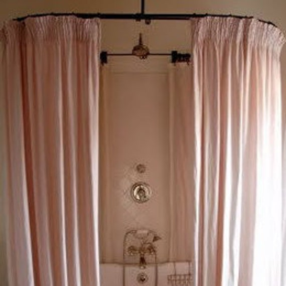Farmhouse Pink Sheer Shower Curtain Shabby Chic Vintage