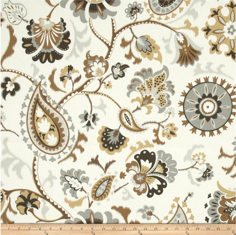 Grey Beige Shower Curtain Fabric Suzani Bath Decor Extra Long