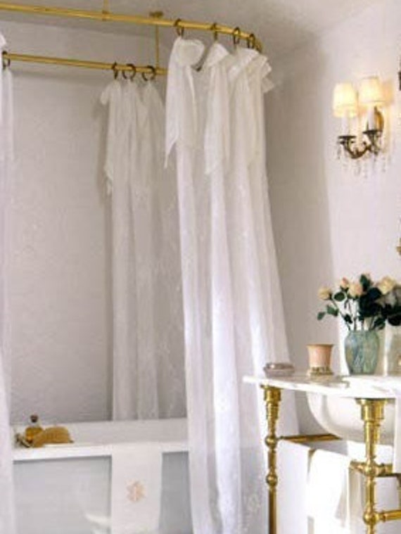 Farmhouse White Sheer Shower Curtain Shabby Chic Vintage Curtains Extra Long Custom Claw Foot