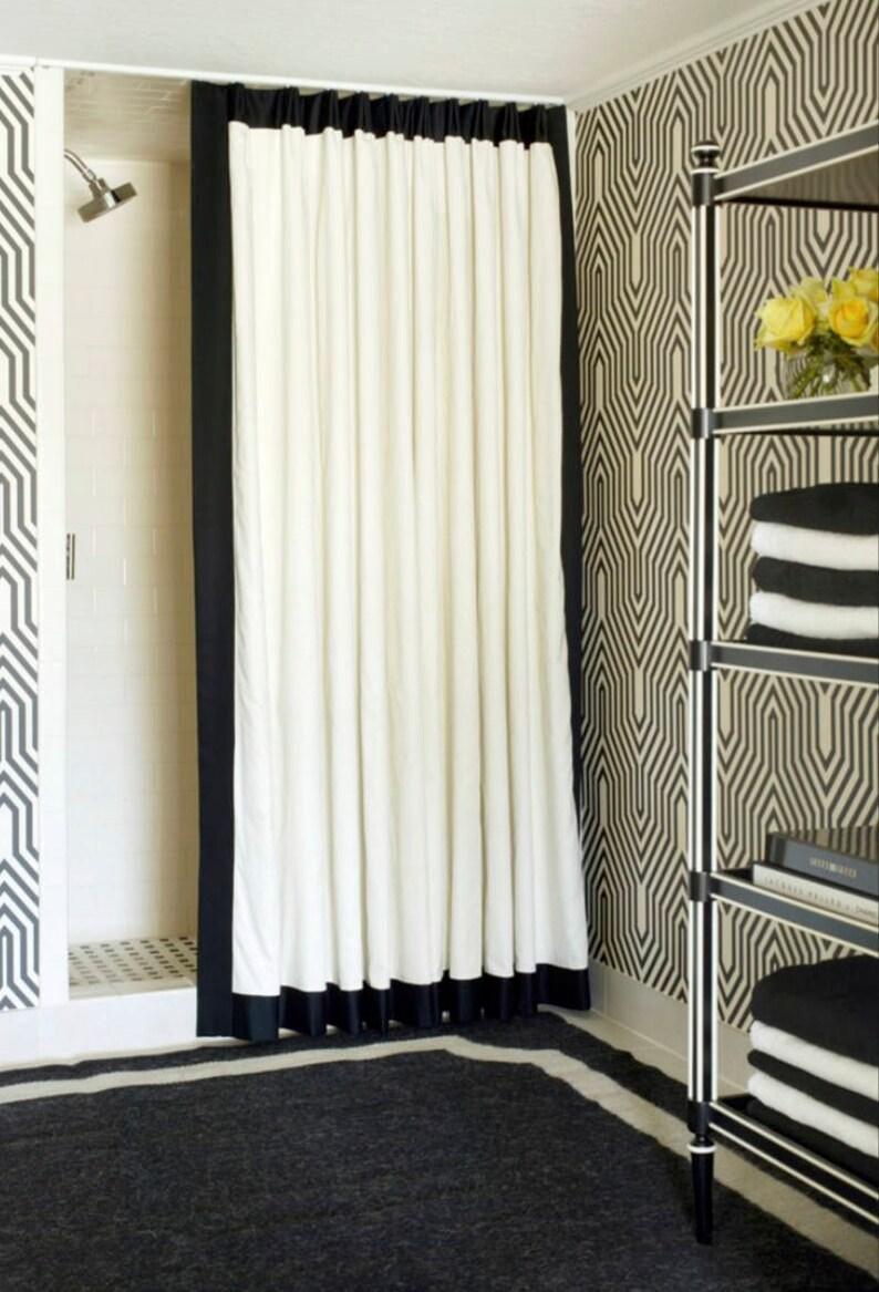 Black Trim Shower Curtain Trimmed Contrast Banding Custom
