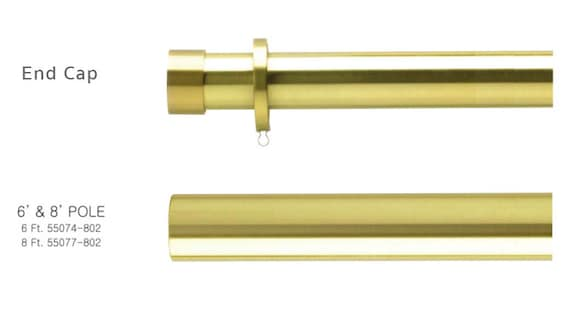 gold drapery rods polished brass image brass curtain rod end cap and finials for 38 diameter etsy