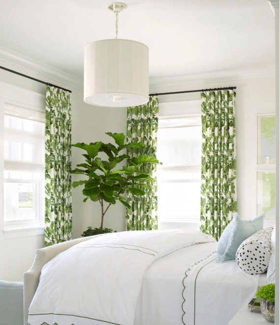 Feuille de vigne rideaux rideaux panneau coton lin Palm   Etsy