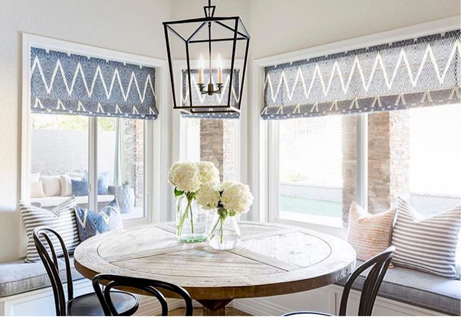 roman shades bay window navy blue white striped linen cordless etsy. Black Bedroom Furniture Sets. Home Design Ideas