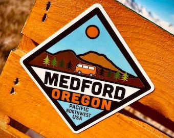 Medford Oregon Sticker | FREE SHIPPING | Rogue River. Roxy Ann Peak. Grants Pass. Table Rock. Natural Bridge. Rogue Valley. Crater Lake.