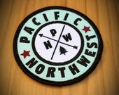 Pacific Northwest Patch - Iron-On PCT Style FREE Shipping. Great Pacific Northwest. Gifts from Oregon. PNW patch. Cascadia.
