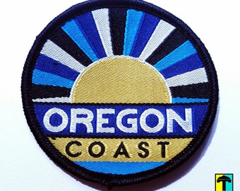 Oregon Coast Patch   FREE SHIPPING. Oregon patch. Oregon gift. Pacific Northwest patches. Iron-on. Cannon Beach. Haystack Rock. PNW patch.