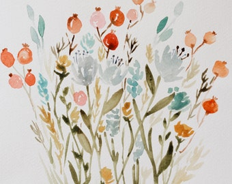 Wild flower field watercolor