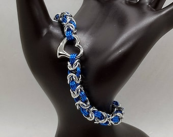 Turquoise and Silver Heart Byzantine Chainmaille Bracelet