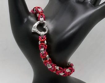 Red, Pink and Silver Heart Byzantine Chainmaille Bracelet