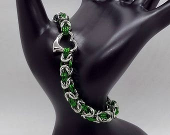 Green and Silver Heart Byzantine Chainmaille Bracelet