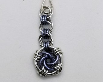 Gunmetal and Silver Swirly Chainmaille Zipper Pull