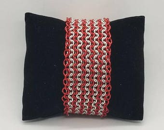 Red and Silver Candy Cane Striped European 4-in-1 Chainmaille Bracelet Cuff