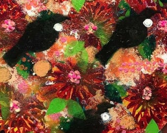 Tui and Flowers. Mixed Media