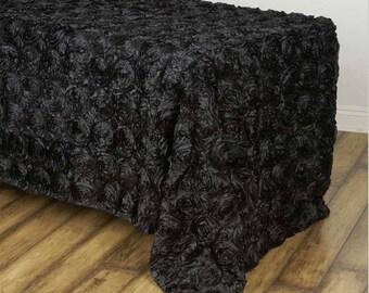 BLACK Rosette Tablecloth Rectangular Rose Grandiose Rosette Tablecloth  Tablecover