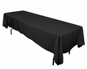 Black Polyester Tablecloth | Square Or Rectangular | Wedding Tablecloth,  Banquet Table Cover, Event U0026 Party Linen