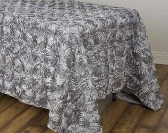 Gentil SILVER Rosette Tablecloth Rectangular Rose Grandiose Rosette Tablecloth  Tablecover