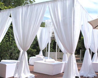 White Chiffon Drapes Panels For Wedding Events Decor Backdrop Draping Curtains