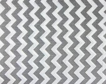 """1/2"""" Wide Chevron GRAY and WHITE Poly Cotton Fabric - Sold By The Yard"""