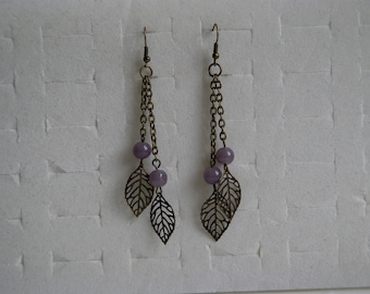 Earrings leaves and pearls