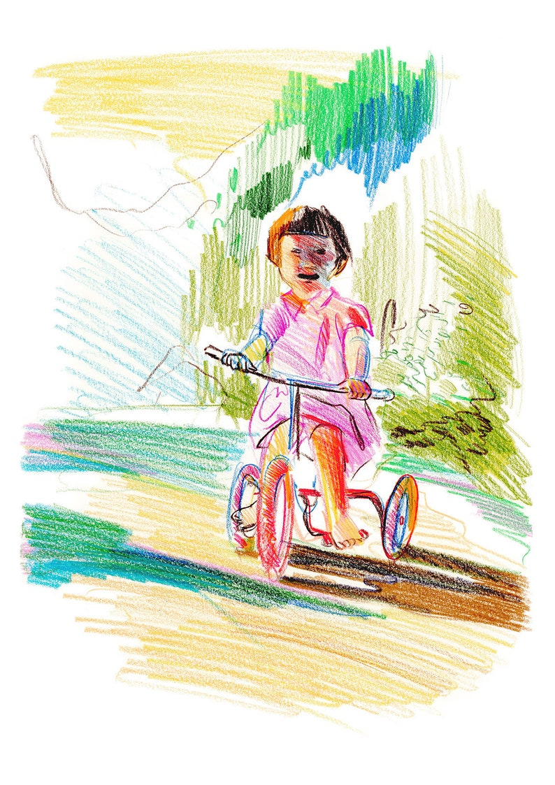 Girl on Bicycle Giclee Art Print; Modern Summer Landscape Sketch; Art Print Gift; Children and Kids Figurative Artwork; Contemporary Drawing