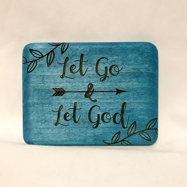 badf1886f0c62d Let Go and Let God wood wall hanging Bible Verse wood sign Let