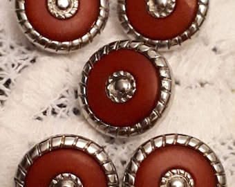 set of 5 buttons jewelry has vintage red tail and metal 15 mm
