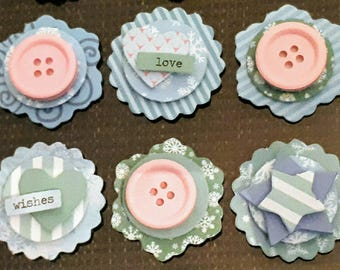 SET of 6 CARDBOARD STICKERS SCRAPBOOKING 35 mm button EMBELLISHMENTS