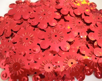 SET OF 10 LARGE SEQUIN FLOWERS RED 28 MM