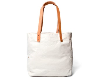 Canvas and Leather Utility Tote Bag