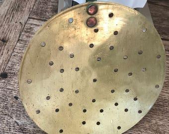 antique brass sieve with handle