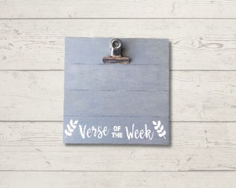Rustic Wood Clipboard Stand | Verse of the Week | Farmhouse Clipboard | Weathered Gray