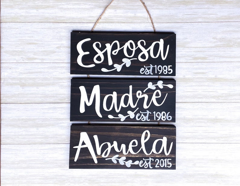 Spanish Wife Mom Grandma Sign & Gift  Personalized Gift for image 0