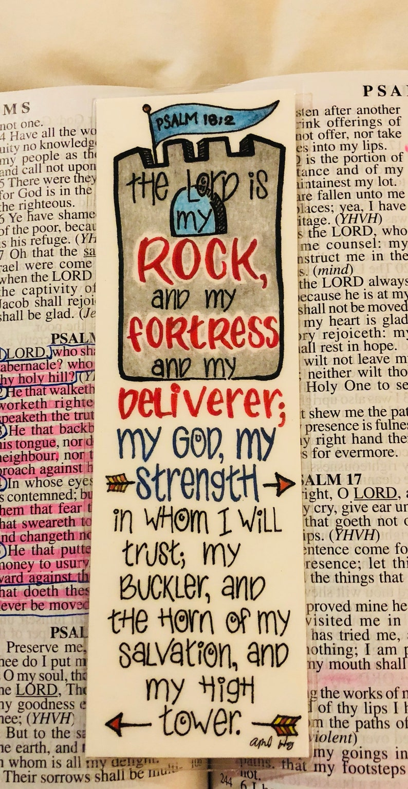 The Lord is My Rock Scripture Bookmark & Christian Gift | Etsy