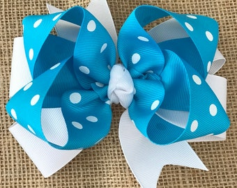 Turquoise With White Polka Dot Printed Ribbon Hairbow