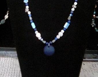 Cobalt blue sea glass pendant necklace
