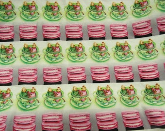 printed cotton fabric - Teddy bear-green and pink