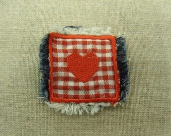 coat sewing - gingham red heart