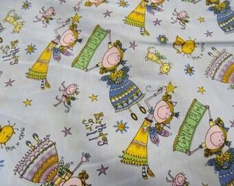 happy birthday girl - purple cotton fabric