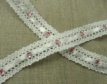 White satin ribbon and rhinestone pink