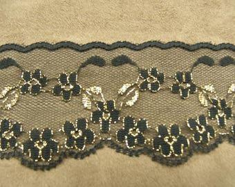 LACE Ribbon - 5 cm - black & gold