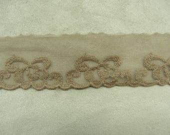LACE of CALAIS surbrodee Brown tulle, 4 cm, suitable to customize a garment, a dress, blouse, bag, pouch